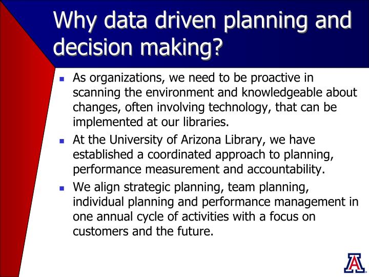 Why data driven planning and decision making?