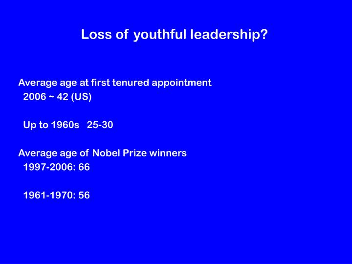 Loss of youthful leadership?