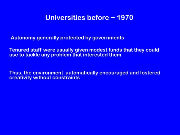 Universities before 1970