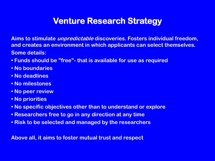Venture Research Strategy