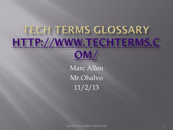 tech terms glossary http www techterms com n.