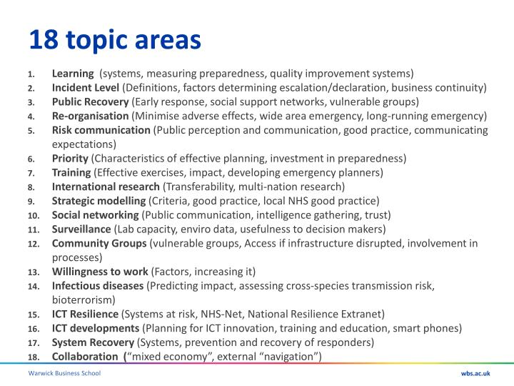 18 topic areas