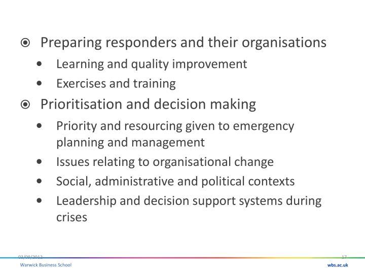 Preparing responders and their organisations