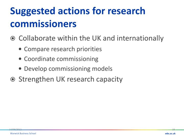 Suggested actions for research commissioners