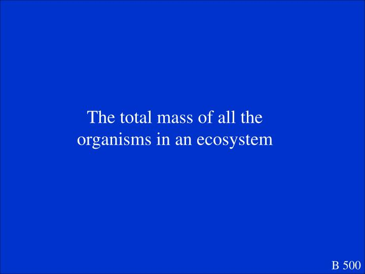 The total mass of all the organisms in an ecosystem