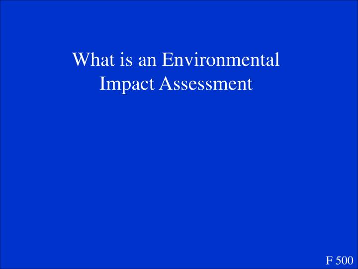 What is an Environmental Impact Assessment