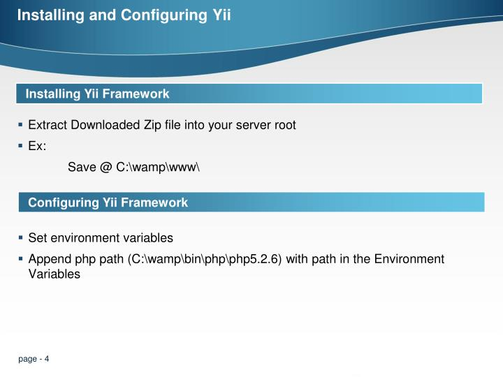 Installing and Configuring Yii