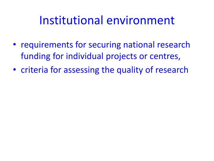 Institutional environment