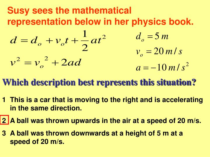 Susy sees the mathematical representation below in her physics book.