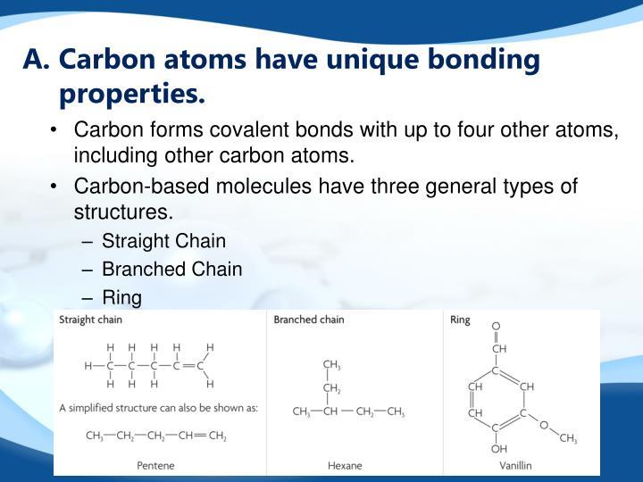 Carbon atoms have unique bonding properties