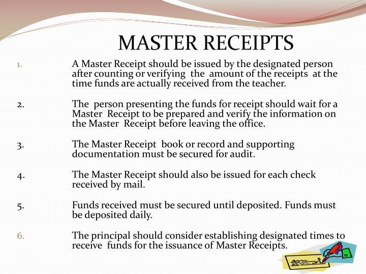 MASTER RECEIPTS