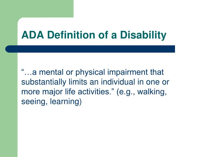 ADA Definition of a Disability