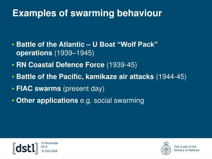 Examples of swarming behaviour