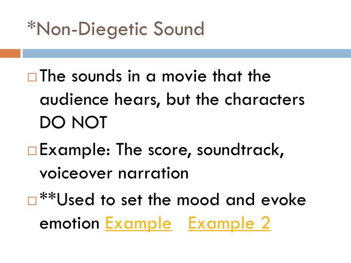 differences between diegetic and non diegetic sound Non-diegetic is also known as commentary or nonliteral sound below is an extra credit video assignment i did with a couple friends it's about sound in a broader sense, but at 3:27, we discuss and exemplify the difference between diegetic and non-diegetic sound.