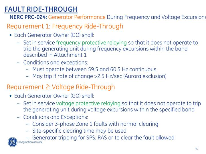Requirement 1: Frequency Ride-Through