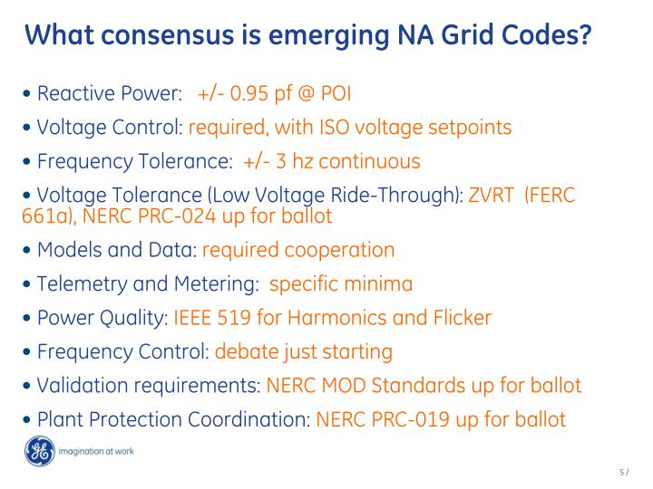 What consensus is emerging NA Grid Codes?