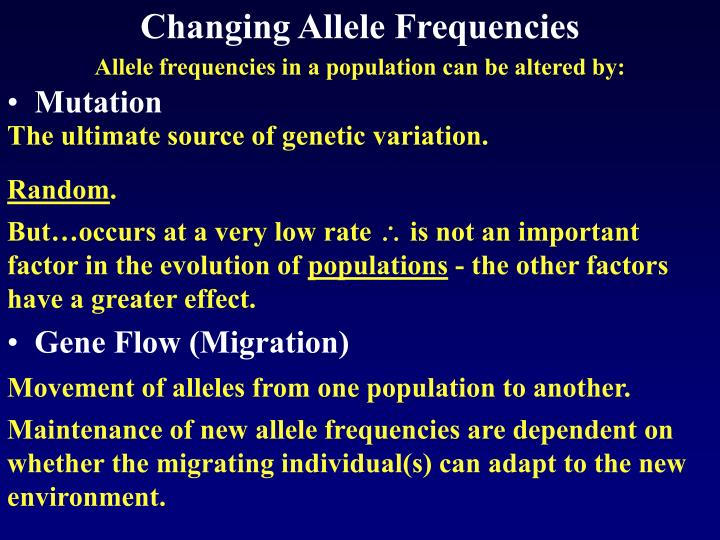 Changing Allele Frequencies