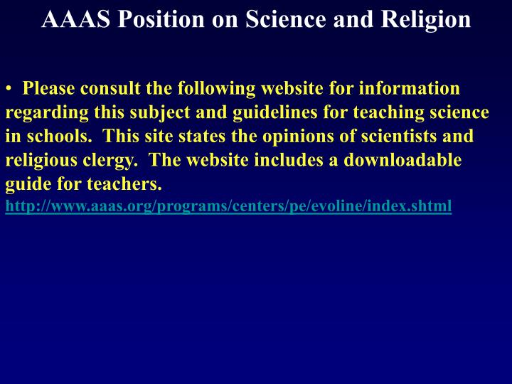 AAAS Position on Science and Religion