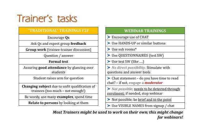 Trainer's  tasks