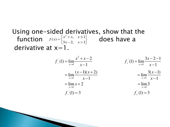Using one-sided derivatives, show that the function                            does have a