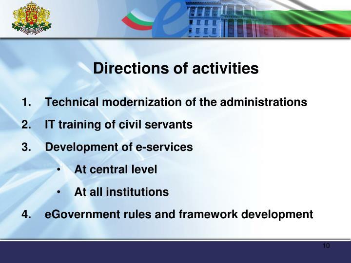 Directions of activities