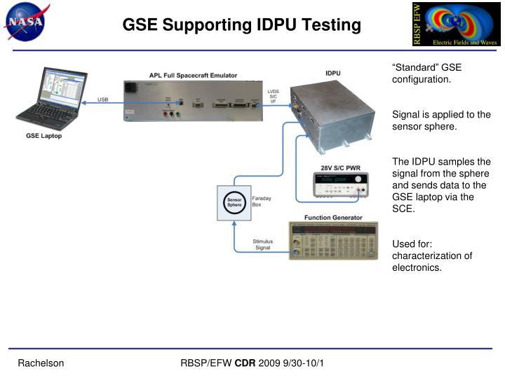 GSE Supporting IDPU Testing