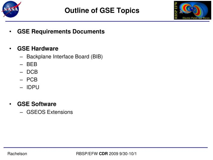Outline of gse topics