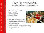 step up and serve welcome week service project