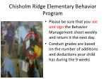 chisholm ridge elementary behavior program