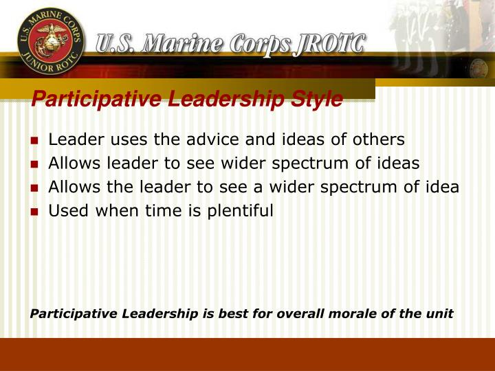 leader uses the advice and ideas of others