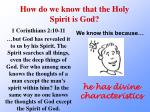 how do we know that the holy spirit is god4