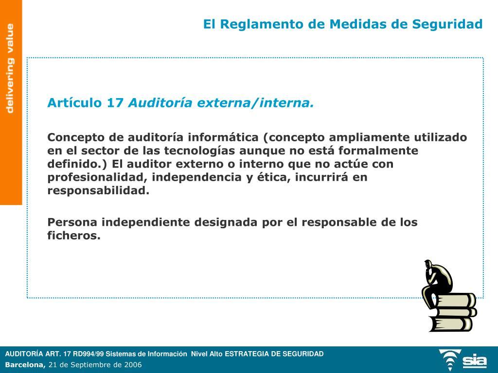 Ppt Auditoría Art 17 Rd994 99 Sistemas De Información