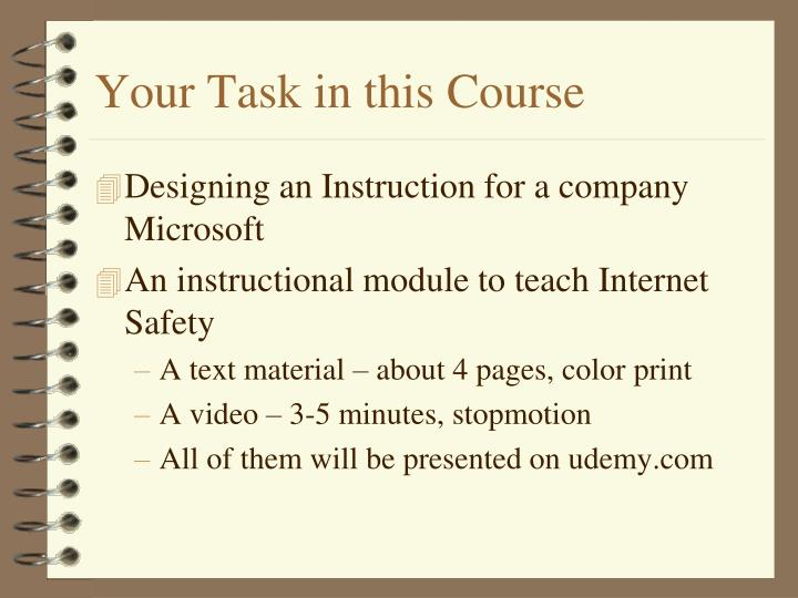 Your Task in this Course