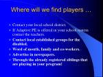 where will we find players