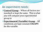 an experiment needs