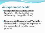 an experiment needs1