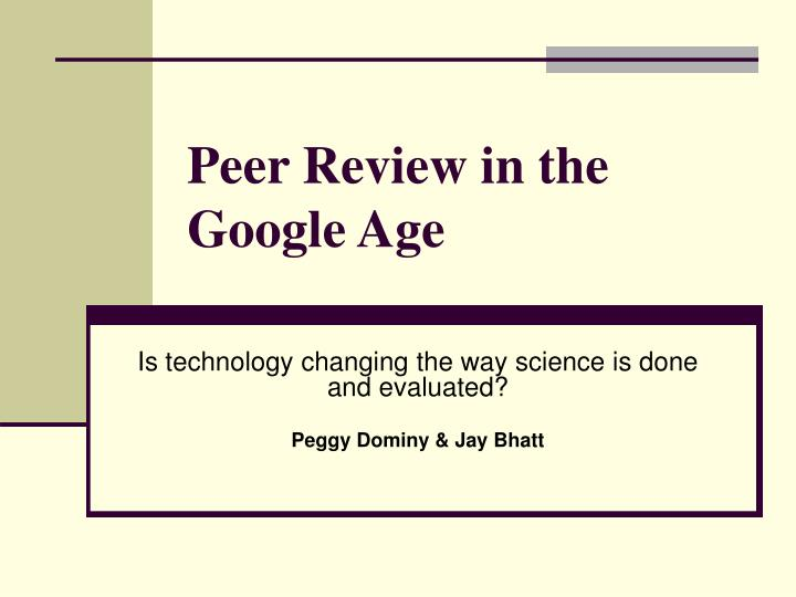 Peer review in the google age