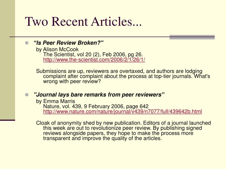 Two Recent Articles...