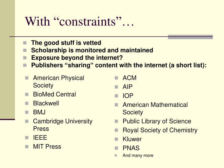"""With """"constraints""""…"""