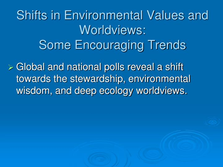 Shifts in Environmental Values and Worldviews: