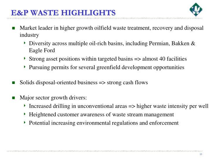 E&P WASTE HIGHLIGHTS