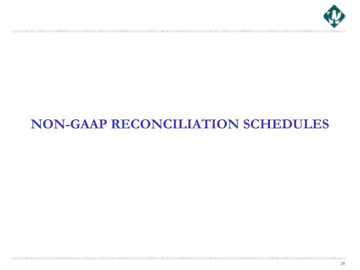 NON-GAAP RECONCILIATION SCHEDULES