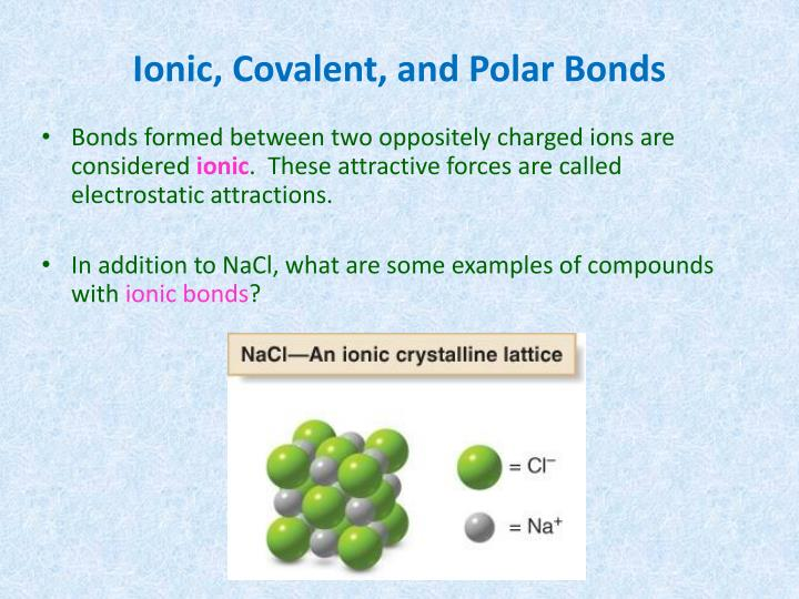 Ionic, Covalent, and Polar Bonds