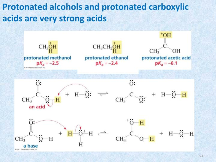 Protonated alcohols and protonated carboxylic acids are very strong acids