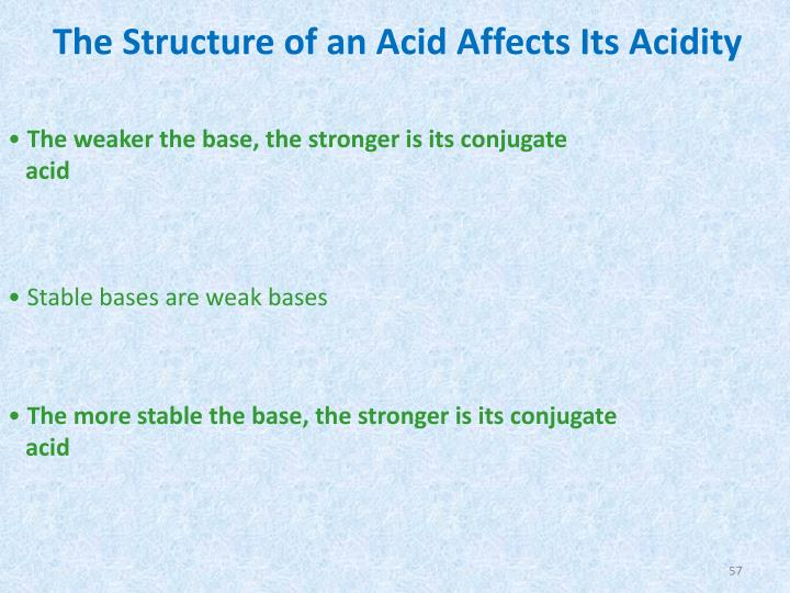 The Structure of an Acid Affects Its Acidity