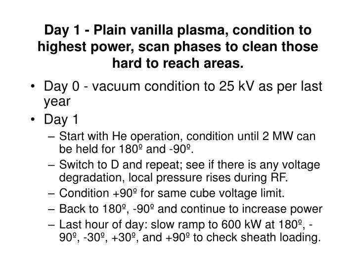 Day 1 - Plain vanilla plasma, condition to highest power, scan phases to clean those hard to reach a...