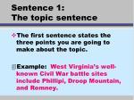 sentence 1 the topic sentence