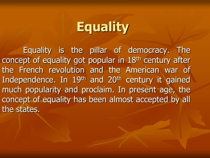 the concepts of an equal society