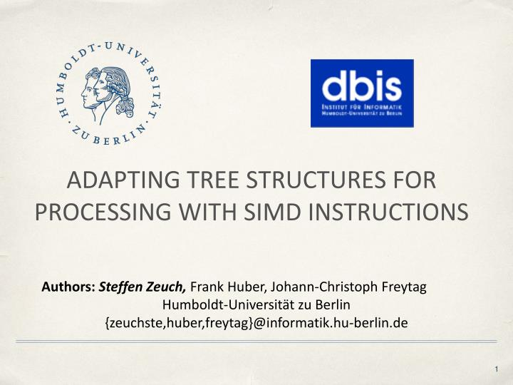 Ppt Adapting Tree Structures For Processing With Simd Instructions