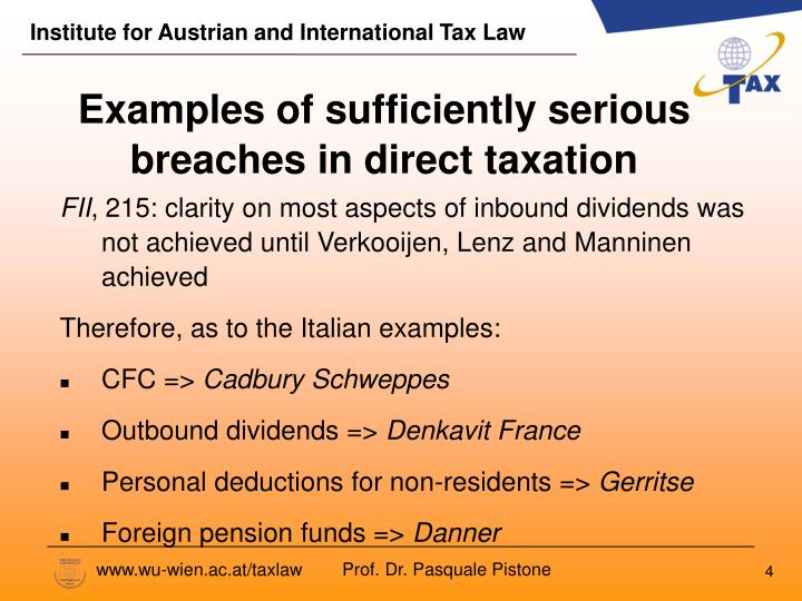 Examples of sufficiently serious breaches in direct taxation
